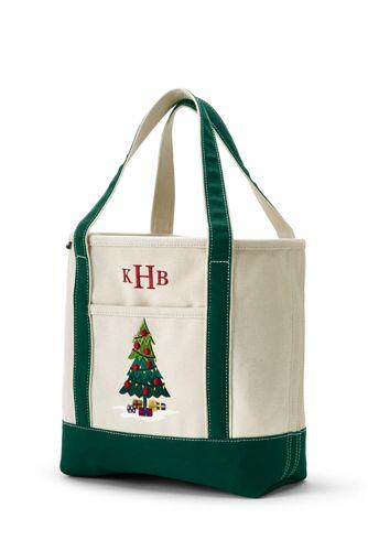 Festive Embroidered Pocket Tote Bag