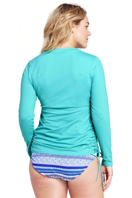 Women's Plus Size Long Adjustable Swim Tunic Rash Guard
