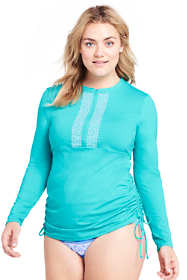 Women's Plus Size Long Adjustable Swim Tunic Rash Guard