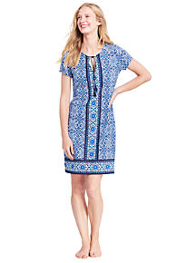 Discount Exclusive Clearance For Sale Womens Regular Cotton Crepe Beach Geo Print Cover-up - 8 - Orange Lands End XCaUP