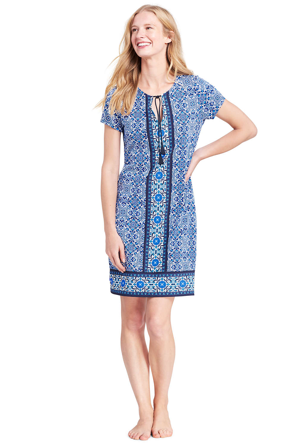 790a0ca600 Women's Notch Neck Swim Cover-up Dress from Lands' End