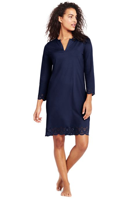 Women's Petite Scalloped Swim Cover-up Dress