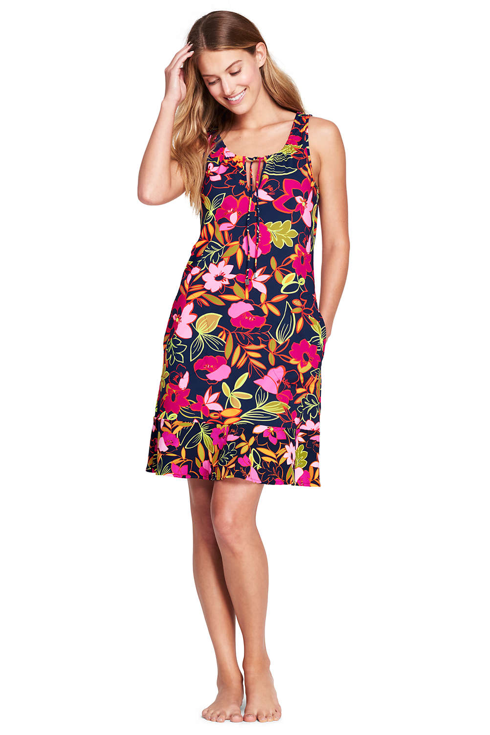 df0bacdce71fa Women s Flounce Swim Cover-up Dress from Lands  End