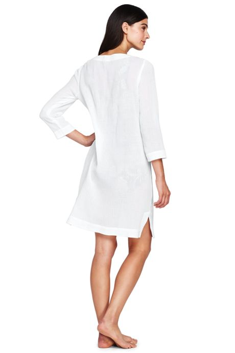 Women's Petite Embroidered Woven Tunic Cover-up
