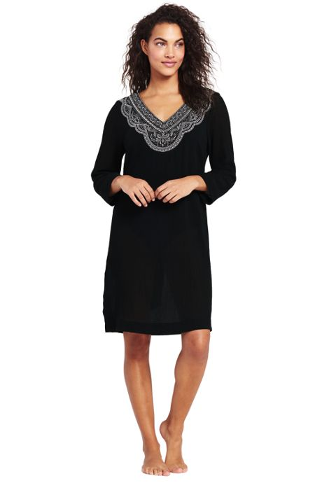Women's Long Embroidered Woven Tunic Cover-up