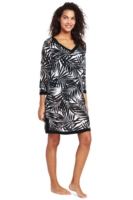Women's Cotton Crepe V-neck Tunic Cover-up