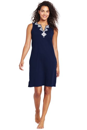 Women's Sleeveless Embroidered Cotton Cover-up