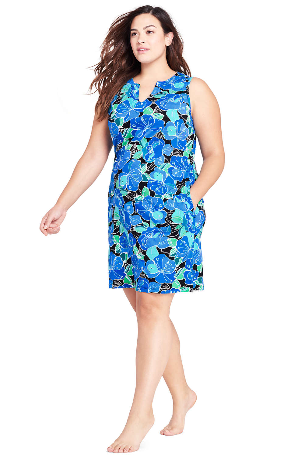 a96c67a378654 Women s Plus Size Cotton Jersey Tunic Dress Cover-up from Lands  End