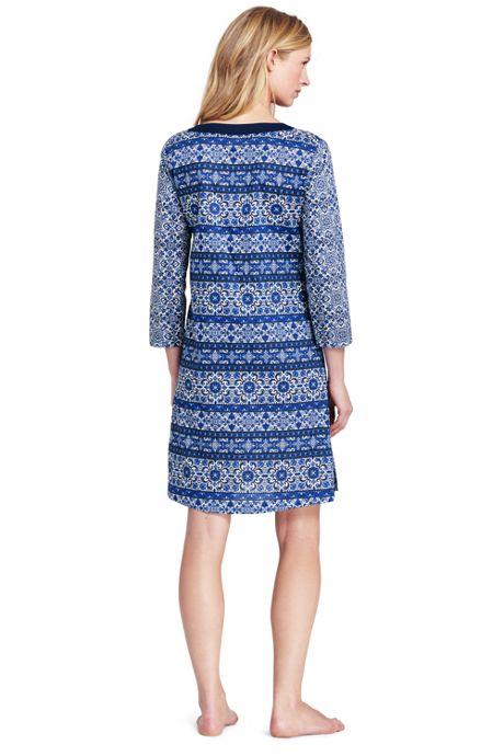 Women's Petite Cotton Lawn Woven Tunic Cover-up