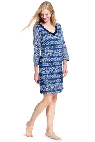 Women's Cotton Majolica Print Cover-up