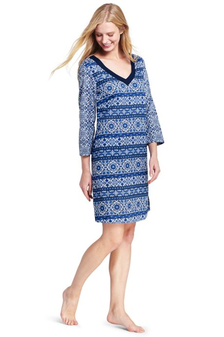 Women's Cotton Lawn V-neck Tunic Cover-up