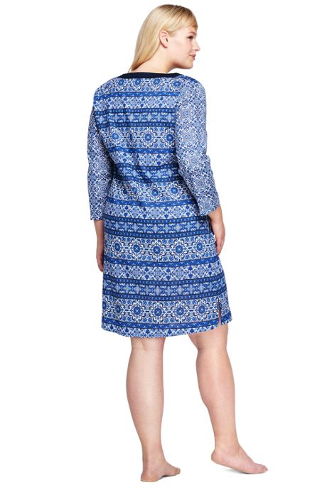 Women's Plus Size Cotton Lawn Woven Tunic Cover-up