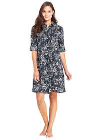Women's Petite Crinkle Cotton Boyfriend Shirtdress Cover-up