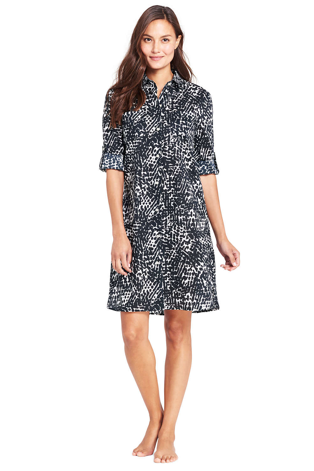 5edcb2f1ce Women's Crinkle Cotton Boyfriend Shirtdress Cover-up from Lands' End