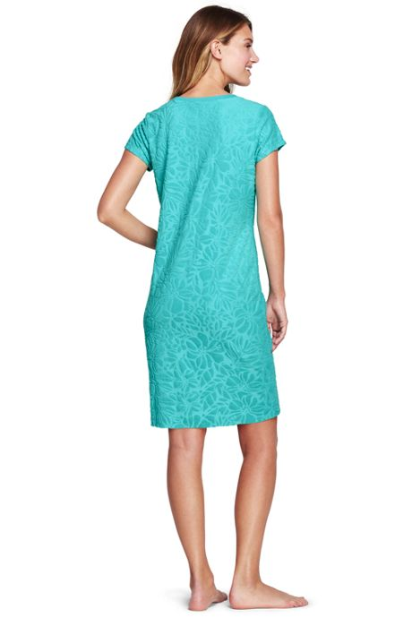 Women's Petite Jacquard Terry T-shirt Dress Cover-up