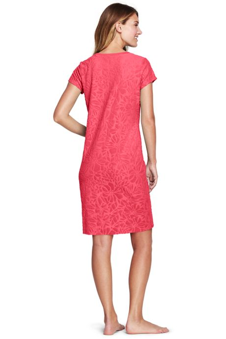 Women's Jacquard Terry T-shirt Dress Cover-up