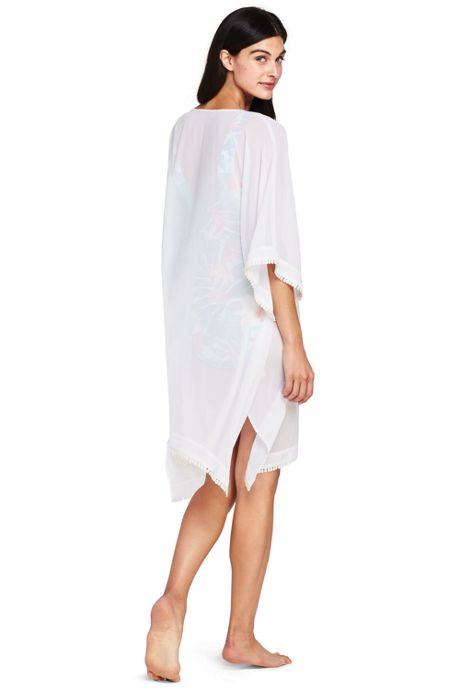 Women's Petite Embroidered Poly Crepe Dolman Cover-up