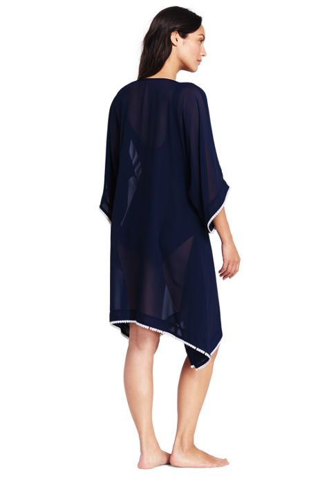Women's Embroidered Poly Crepe Dolman Cover-up
