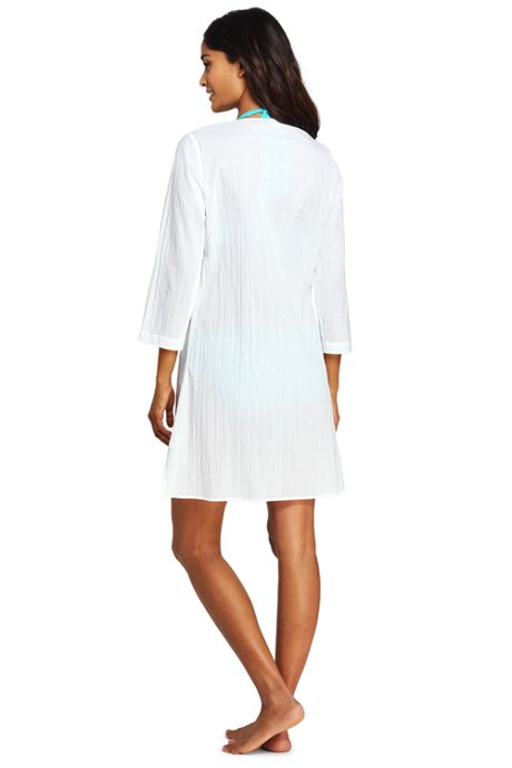 Women's Cotton Embellished Tunic Swim Cover-up