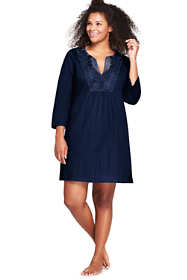 Women's Plus Size Cotton Embellished Tunic Swim Cover-up