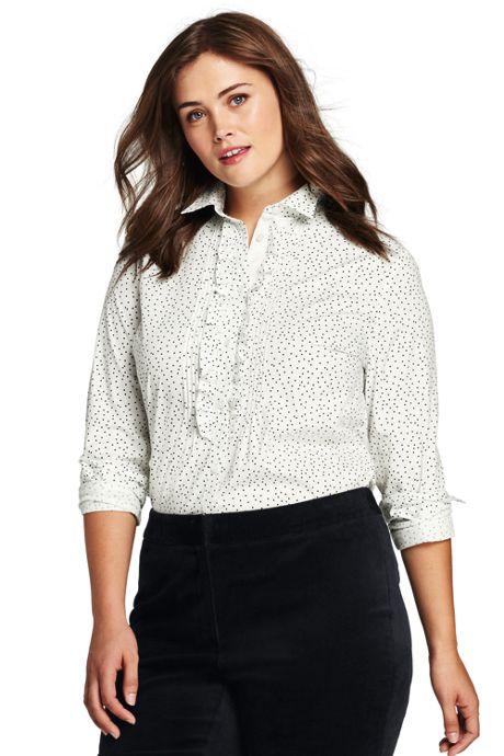 Women's Plus Size Poplin Tuxedo Shirt