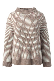 Women's Textured Wool Blend Striped Jumper