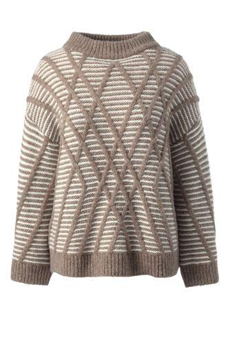 Gestreifter Stehkragen-Pullover mit Linienrelief für Damen in Normalgröße
