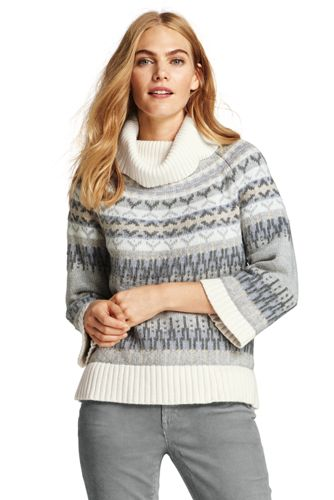 Womens 3/4 Sleeve Fair Isle Turtleneck Sweater from Lands' End