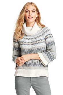 Women's Cotton Blend Fair Isle Roll Neck Jumper