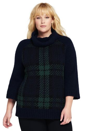 Womens 3/4 Sleeve Turtleneck Sweater from Lands' End
