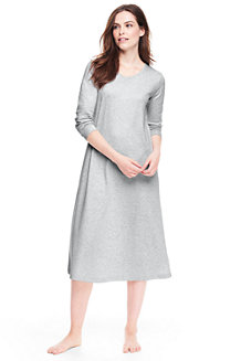 Wadenlanges Supima Langarm-Nachthemd für Damen