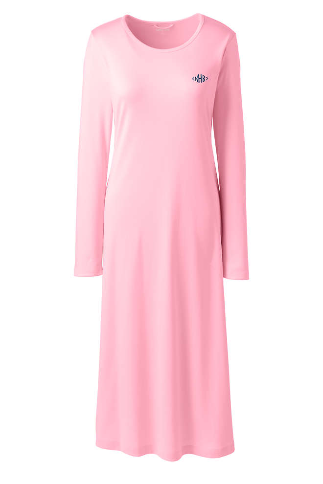 Women's Tall Supima Cotton Long Sleeve Midcalf Nightgown, Front