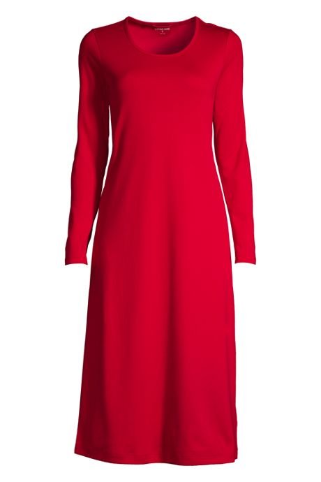 Women's Plus Size Supima Cotton Long Sleeve Midcalf Nightgown