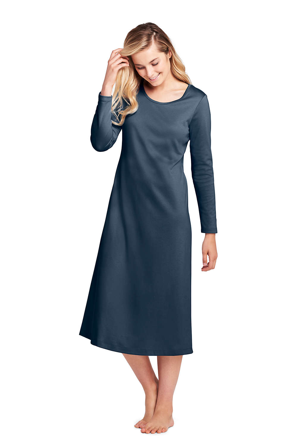 Women\'s Midcalf Supima Cotton Nightgown Long Sleeve from Lands\' End