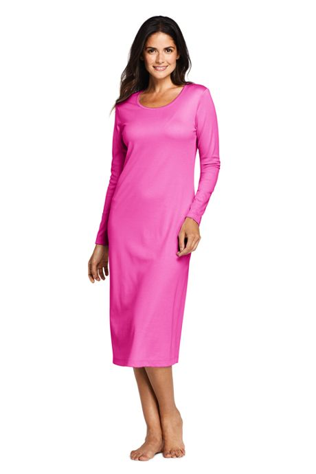 Women's Petite Supima Cotton Long Sleeve Midcalf Nightgown