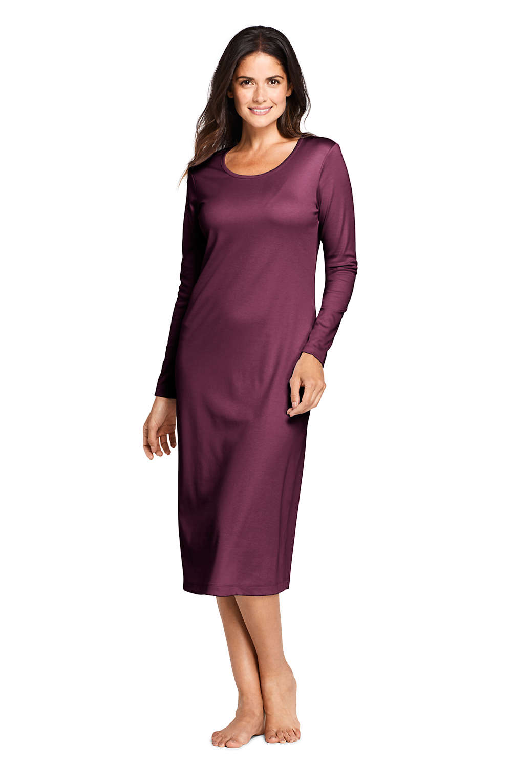 12517d75610 Women's Supima Cotton Long Sleeve Midcalf Nightgown from Lands' End