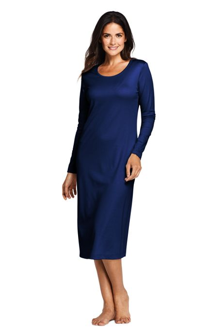 Women's Tall Supima Cotton Long Sleeve Midcalf Nightgown
