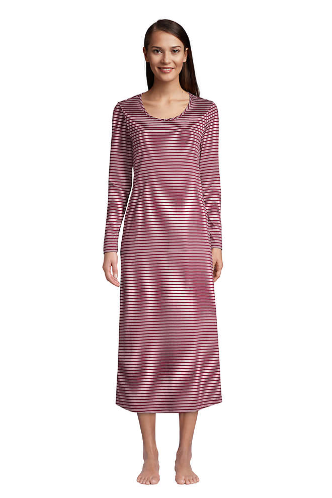 Women's Supima Cotton Long Sleeve Midcalf Nightgown, Front