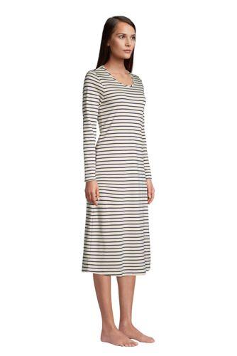 Women's Petite Supima Cotton Long Sleeve Midcalf Nightgown