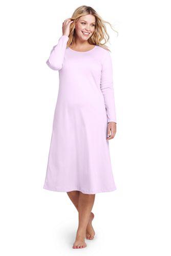 f0c00b0ee6 Wadenlanges Supima Langarm-Nachthemd für Damen | Lands' End