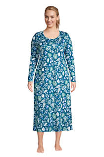 Women's Plus Size Supima Cotton Long Sleeve Midcalf Nightgown, Front