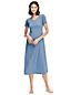 La Chemise de Nuit Longue Rayée à Manches Courtes, Femme Stature Standard