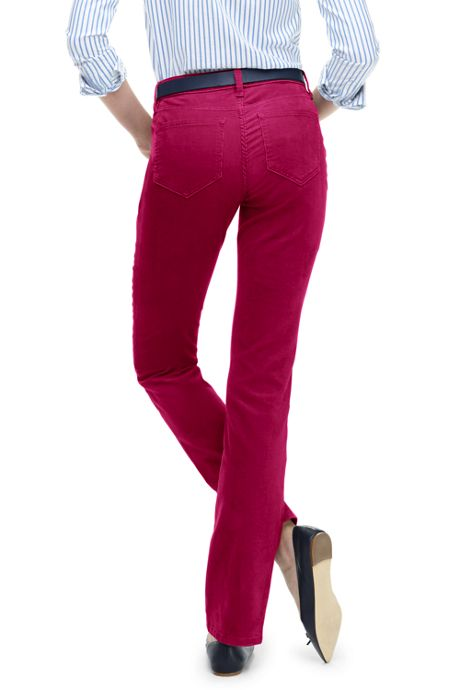 Women's High Rise Straight Leg Corduroy Pants