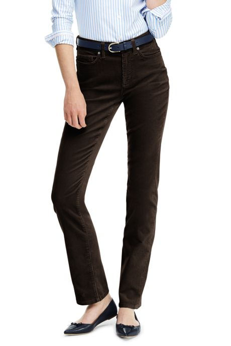 Women's Petite High Rise Straight Leg Corduroy Pants