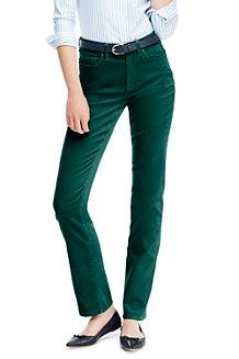 Le Pantalon Droit en Velours Côtelé Stretch Taille Haute, Femme Stature Standard
