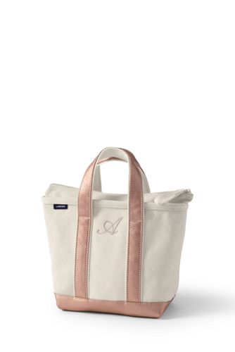 Small Zip Top Canvas Tote Bag in Natural/Gold