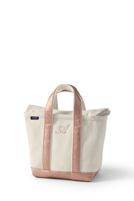 Small Natural Rose Gold Zip Top Canvas Tote Bag