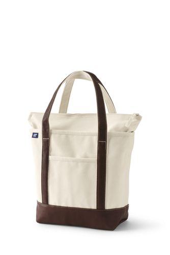 Mittelgroße Canvastasche mit Reißverschluss und Metallicdetails