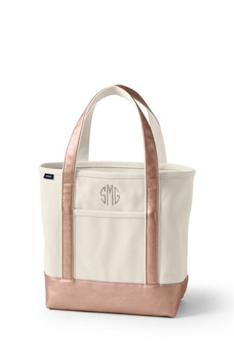 Medium Zip Top Canvas Tote Bag in Natural/Gold