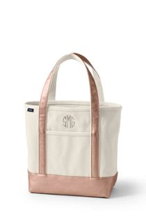 Natural Metallic Zip Top Canvas Tote Bag